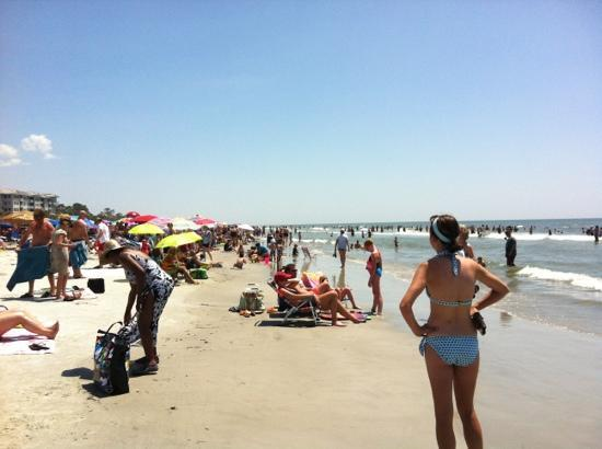 Crowded Sunday In July At Coligny Beach