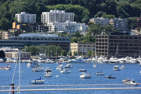 Silver Cloud Inn Seattle - Lake Union: Boats on Lake Union Celebrating the 4th
