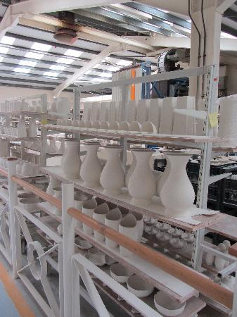 Belleek Pottery & Visitor Centre: Racks of drying pottery