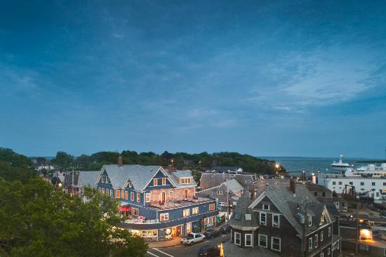 Woods Hole Inn: View of the Inn at dusk, looking out over the Martha's Vineyard ferry terminal.