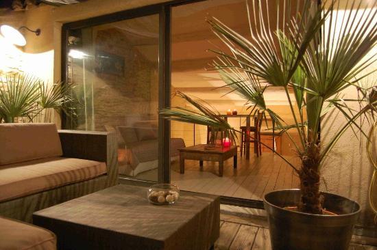 Le clos des restanques : terrasse et salon
