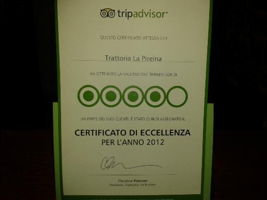 Piacenza, Italy: Certificato d'eccellenza 2012 da Tripadvisor