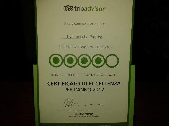 Piacenza, Itália: Certificato d'eccellenza 2012 da Tripadvisor
