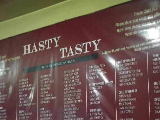 Hasty Tasty: Menu Board