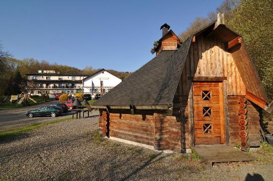 Waldhotel Felschbachhof: Finnhütte mit Hotel