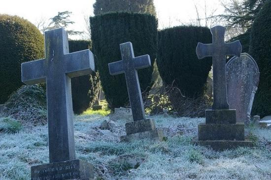 The Old Cemetery: frosty gravestones