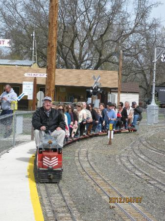 Medford Railroad Park: watching a train pull into the station