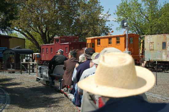 Medford Railroad Park: on a train going by reaL historic train cars