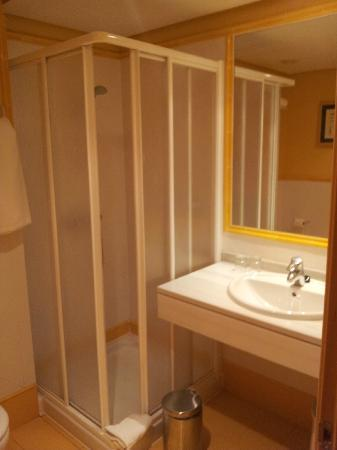 Hotel Pozuelo: Bathroom has shower, toilet and basin