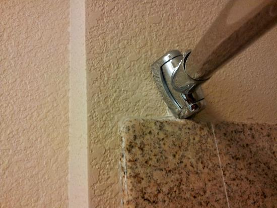 Candlewood Suites Virginia Beach / Norfolk: Broken shower rod at odd angle.