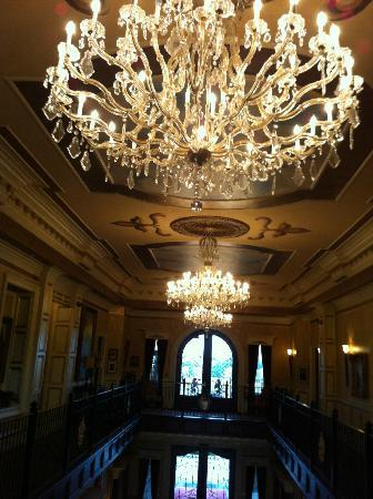 CastlePost: Photo of the three chandeliers in the Great Hall.