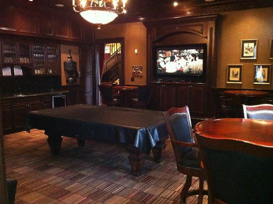CastlePost: The Billiards room and TV, as seen from the poker room.