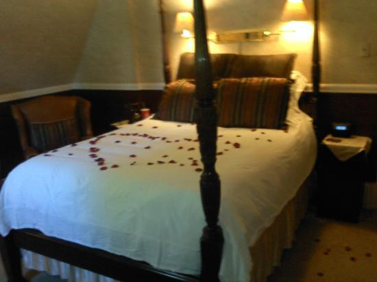 Amber House Bed and Breakfast Inn: Rose petal service on our bed in the Vivaldi room.
