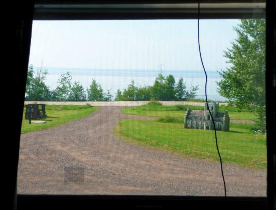 North Shore Cottages: Lake view from middle window - Unit 4 (the cord is to the TV aerial)