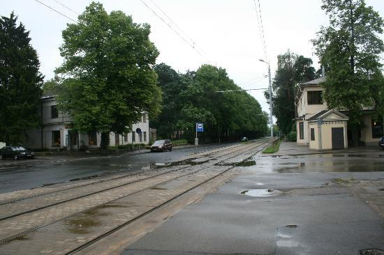 Homestay  Riga: This is the Tram stop- they run frequently- it is about a 10-15 minute walk- very pleasant.
