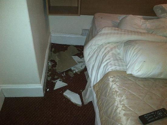 Whites Hotel: Luckily no-one was in the bed when this panel fell onto it