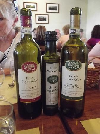 Fattoria Poggio Alloro: The lovely wines and olive oil they make, serve and sale.