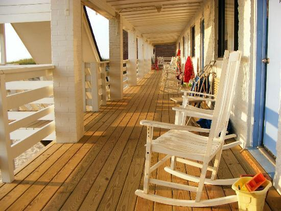 """Outer Banks Motor Lodge: The """"family"""" porch with rocking chairs"""