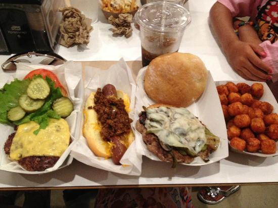 M Shack : M Burger, Hot Diggity Dog, Italian Sausage Sandwich, Sweet Potato Tots