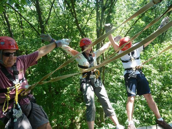 Lake Geneva Canopy Tours Leaning Back On The Platformlook Mom