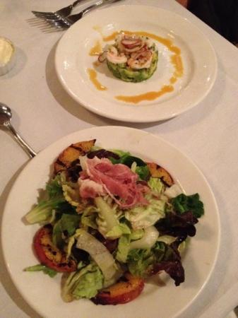 Rawls: grilled peaches and ham salad; shrimp seviche