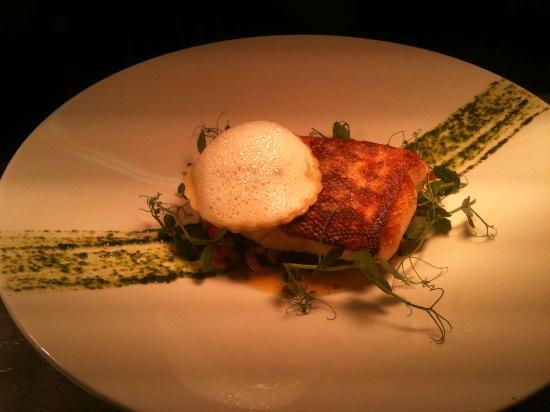 Stonehouse Restaurant: Cod Fillet, crab ravioli, shrimp, Basil emulsion
