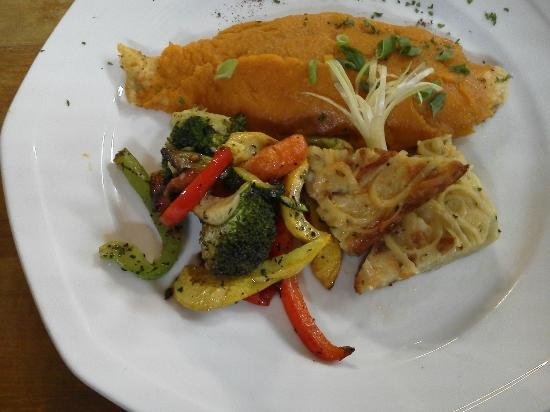 Acme Dry Goods Co Food Court: Sweet Potato covered catfish with great side dishes