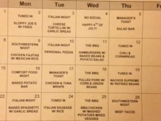 Residence Inn Charleston Mt. Pleasant: The menu for the month of July for the Manager's Reception