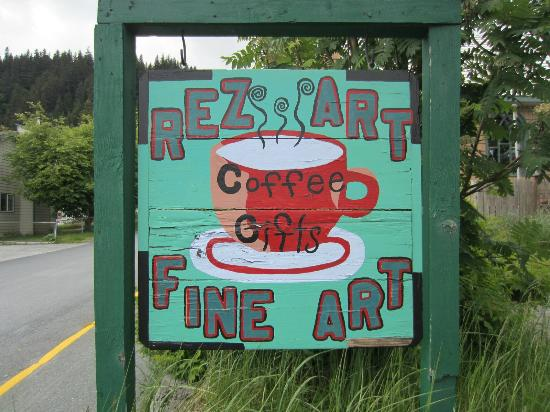 Resurrect Art Coffee House Gallery: Signclose up