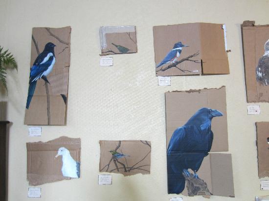 Resurrect Art Coffee House Gallery: Birds painted on cardboard