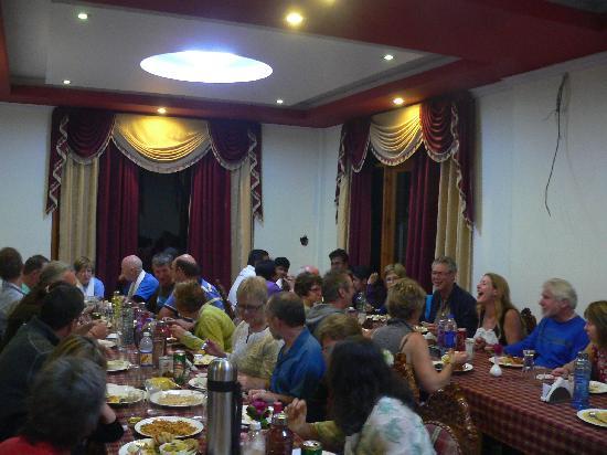 The Grand Shamba-La: Bikers group enjoying dinner party at the hotel The Grand Shangri-La,Kalpa,Kinnaur,Himachal Prad