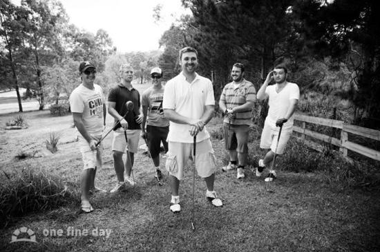 Sylvan Glen Country House: Groom and groomsmen playing golf being church.