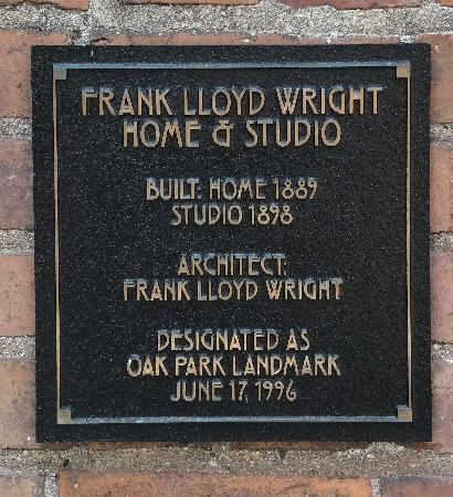 Frank Lloyd Wright Home and Studio : Plaque
