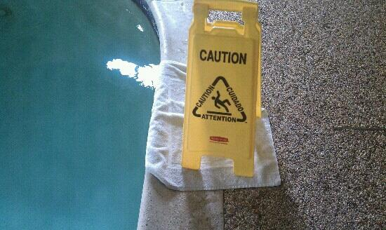 MainStay Suites: this is how they clean the throw up away from the pool.
