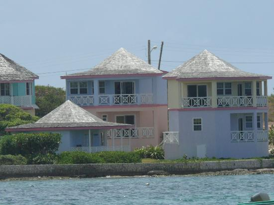 Arawak Beach Inn: View of our unit from across the water--it's the upper blue one