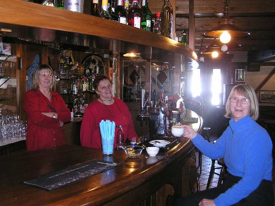Hotel California: Marina, centre, Elide, left and my wife, Anne, in the bar.