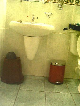 Welcome Centre Hotels: water bucket with plastic bucket LH side - not sure if this is for guest to clean their own bath