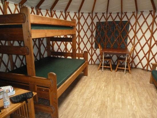 Cape Disappointment State Park: Beds and table. There is a futon on the other side.