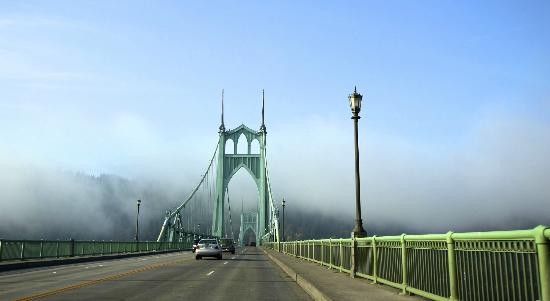 the beautiful St. Johns Bridge on Hwy 30 heading North out of Portland