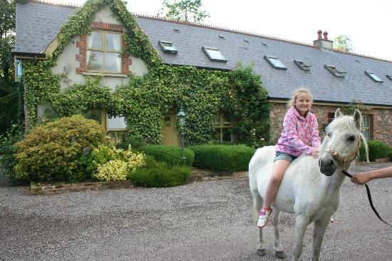 Courtyard Irish Holiday Cottages: Zoe having a pony ride a the Cottage