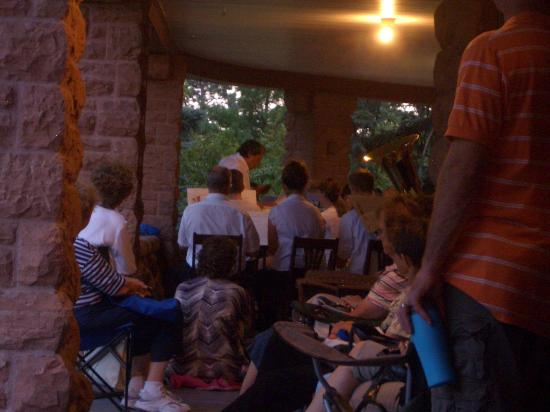 G.W. Frank Museum of History and Culture : Concertgoers on the veranda of the Frank House