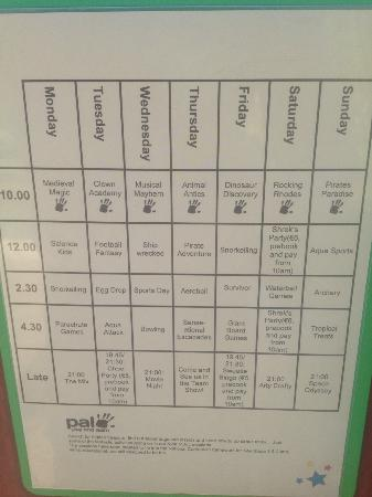 Holiday Village Rhodes: Timetable