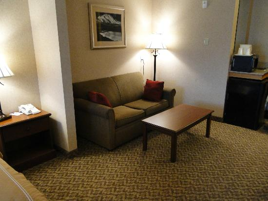 Comfort Suites Anchorage International Airport: Small sofa area and coffee table