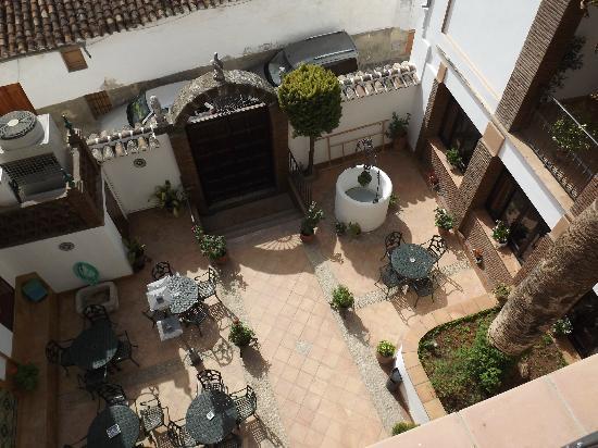 La Casa Grande del Burgo: looking down onto the courtyard from the balcony