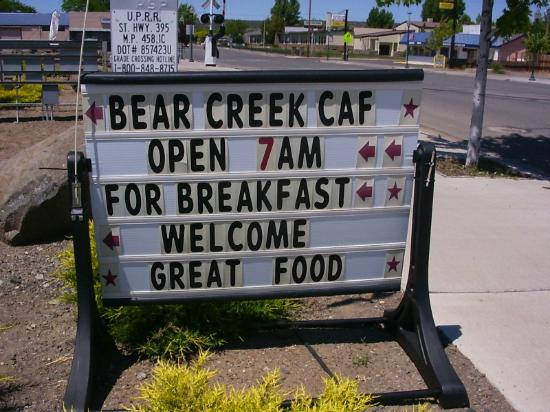 Bear Creek Cafe: sign on Rt 395 (Main St.) west side of street