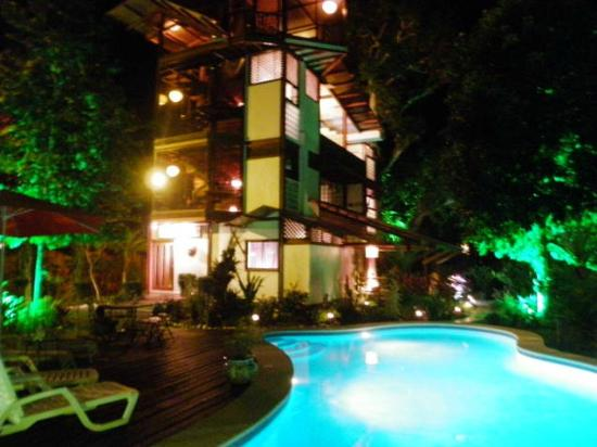 La Casa del Mango: Lit up at night, the pool and hotel look amazing!