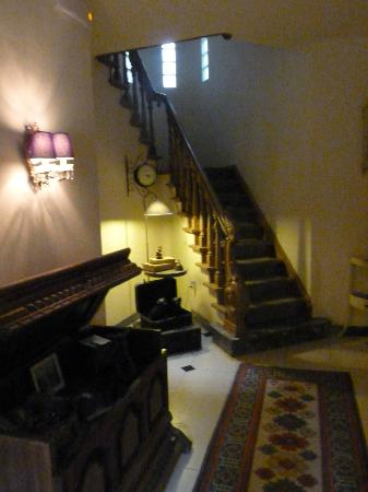 Guesthouse 17: The hall and stairs leading up to the guest rooms 