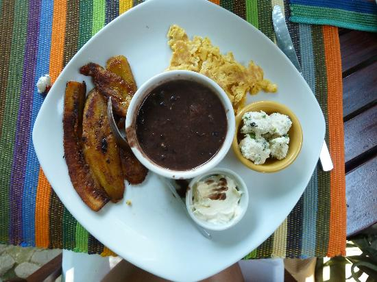 Saberico: tipical breakfast (beans, plantains, egg and cheese!)