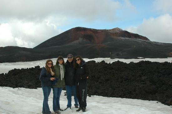 Volcano Hotel: Our family coming down from the crater