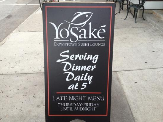 Yo Sake Downtown Sushi Lounge: YoSake sidewalk sign